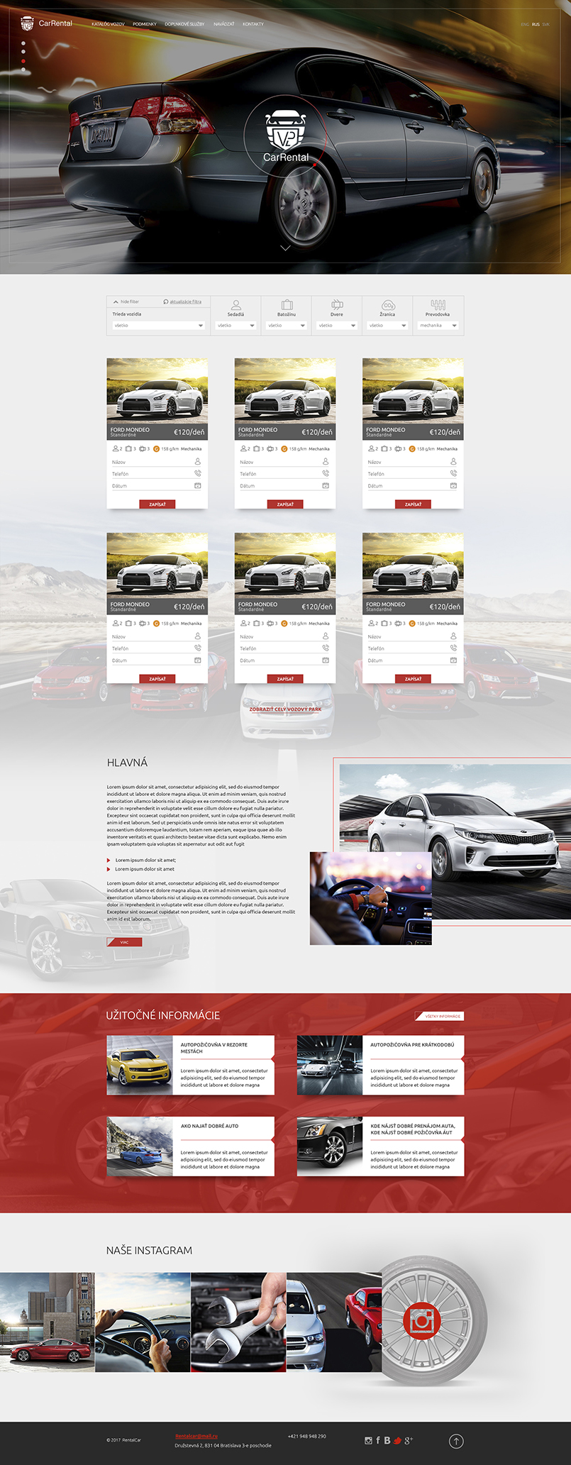 We show the finished main page, the website supports a video background in the header of the website and also the filter of the car selection is visible, the client remains satisfied